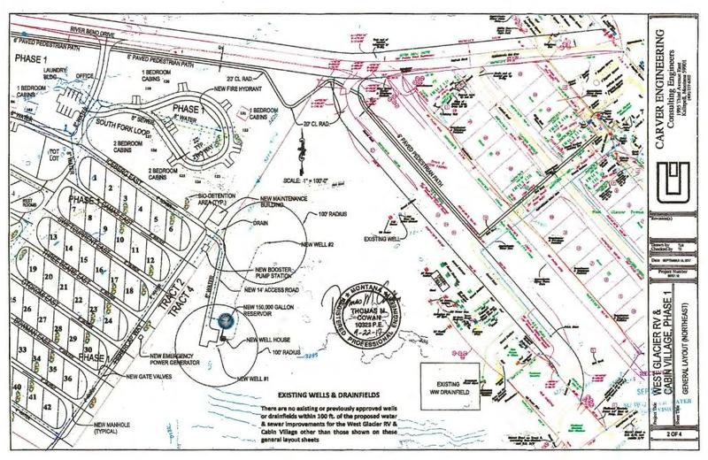 A map from the West Glacier RV and Cabin  Village draft environmental assessment showing proposed water and sewer improvements for the project.