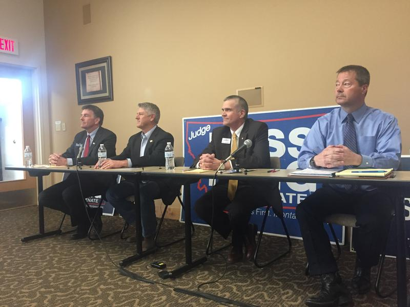 From left to right: Russell Fagg, Troy Downing, Matt Rosendale, and Albert Olszewski at a March 28 forum in Missoula. The four Republican are running for their party's nomination to challenge Democrat Jon Tester for his seat in the U.S. Senate.