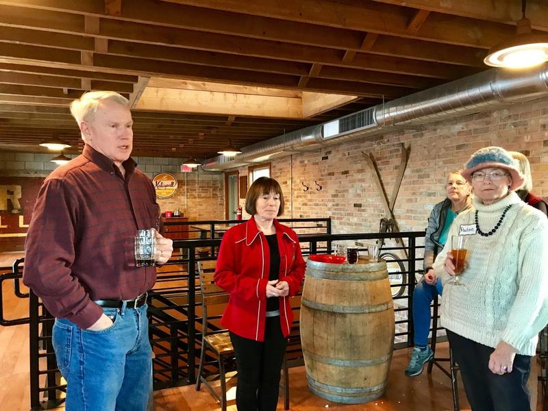 U.S. House candidate Lynda Moss (center) at a fundraising event at Kalipell Brewing Company, Wednesday, March 7, 2018.