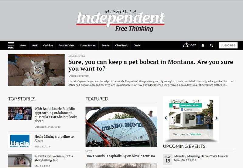 A screen capture from the Missoula Independent website, March 19, 2018.