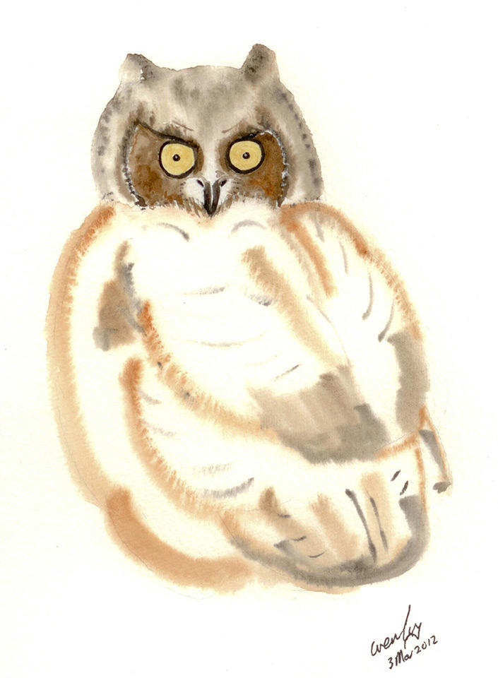 Great horned owl watercolor.