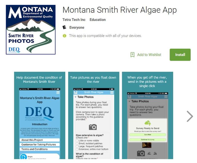 Screen capture of the Smith River Algae App in the Google Play Store, March 5, 2018.
