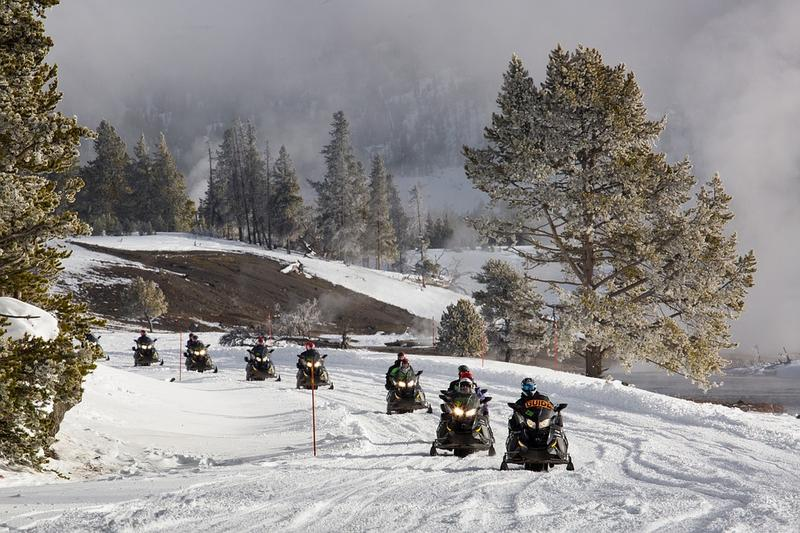 Snowmobilers in Yellowstone National Park