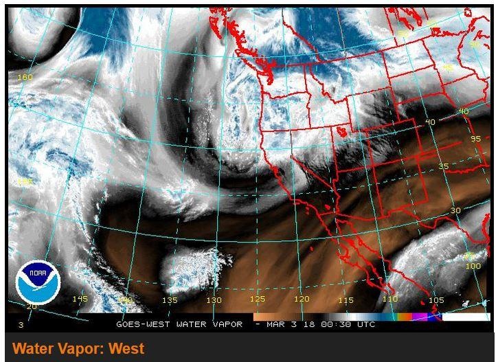 Imagery from NOAA geostationary (GOES) satellites, March 2, 2018 shows more snow on the way to Montana.