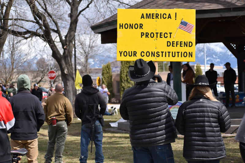 Roughly 200 people, many armed, attended the locally-organized gun rally in Kalispell's Depot Park on April 14.