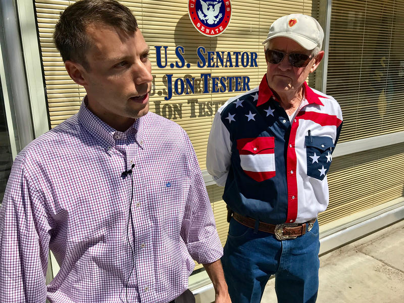 Army veterans Andrew Person and Cliff Larsen give a press conference outside Senator Jon Tester's Missoula office Thursday, April 26, 2018.
