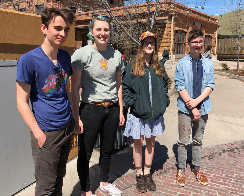 """Hellgate High School students joined the national gun walkout April 20, 2018. L to r: Jack Catmull, Erin Szalda-Petree, Ally Fradkin and Lloyd Clark-Gaynor. They're all members on the band """"Carpool""""."""