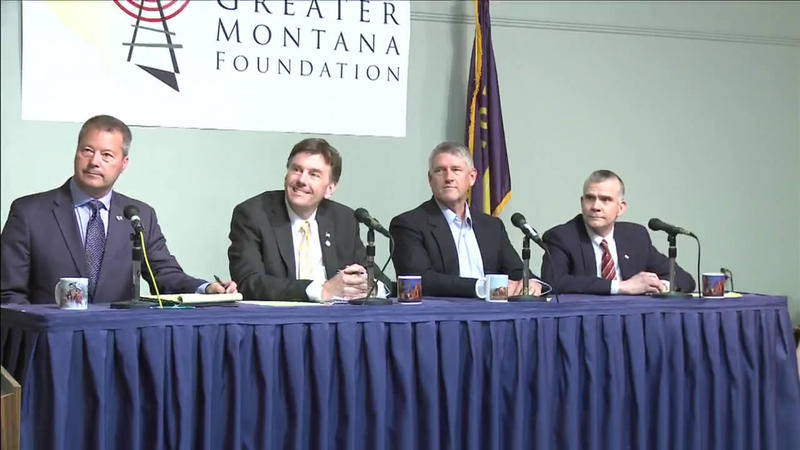Republican U.S. Senate candidates Albert Olszewski, Russell Fagg, Troy Downing and Matt Rosendale debate in Helena, April 26, 2018.