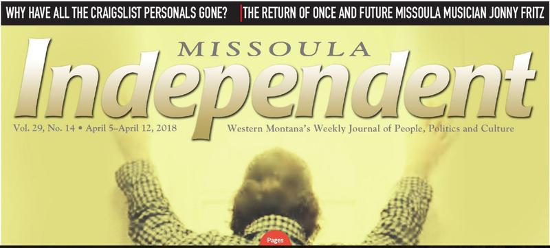 A screen capture of the Missoula Independent cover, April 5, 2018.