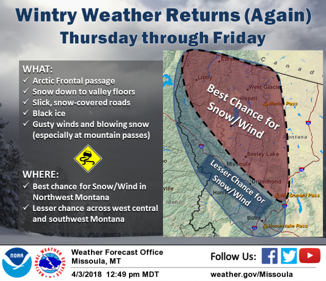 Both valleys and mountains will be impacted for locations across northwest Montana and along the Continental Divide. If the arctic front makes it further into western Montana, west-central and southwest Montana will also see snow and gusty winds.