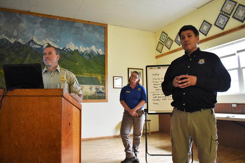From left, U.S. Fish and Wildlife Service employees Kevin Shinn, Vanessa Fields and Bernardo Garza  field public questions at an open house about future National Bison Range management in Charlo May 10, 2018.