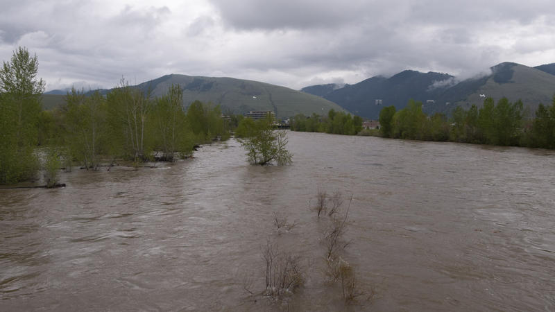 The Clark Fork River above flood stage in Missoula, May 7, 2018.