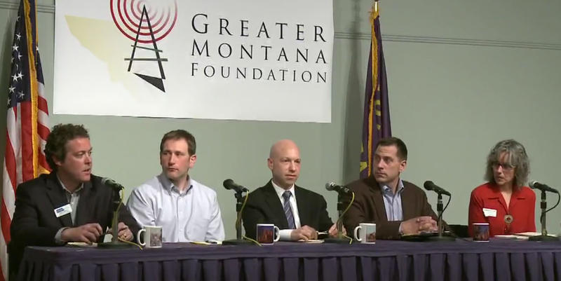 From left to right, Democratic U.S. House Candidates John Heenan, John Meyer, Jared Pettinato, Grant Kier, Kathleen Williams, during the May 3, 2018 debate.