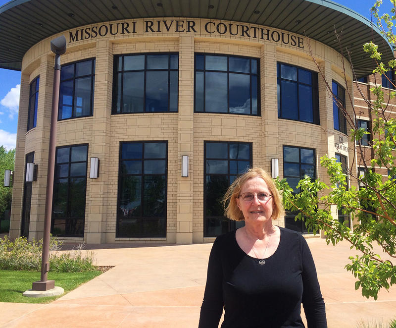 Northern Plains Resource Council member and lawsuit declarant Dena Hoff outside of Missouri River Federal Courthouse on May 24, 2018.