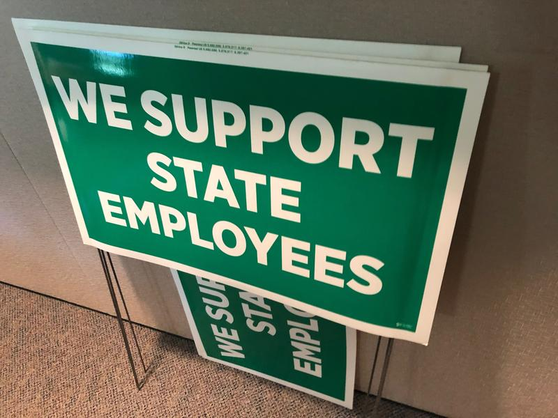 Signs stacked inside the headquarters of the newly formed Montana Federation Of Public Employees. Union organizers campaigned for union membership before the US Supreme Court ruling concerning labor union membership.