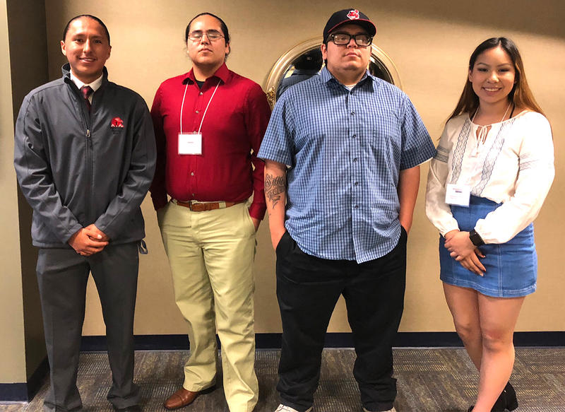 Chase Comes at Night, Marcos Lopez, Jazz Walker, and N'zshonico Cummins are members of the Billings Schools Tribal Council. They attended the 2018 Indigenous Movements Interchange in Great Falls last week.