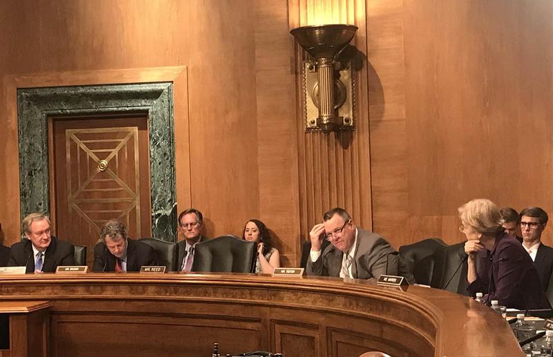 Sen. Jon Tester at a Senate Banking Committee hearing, May 15, 2018.