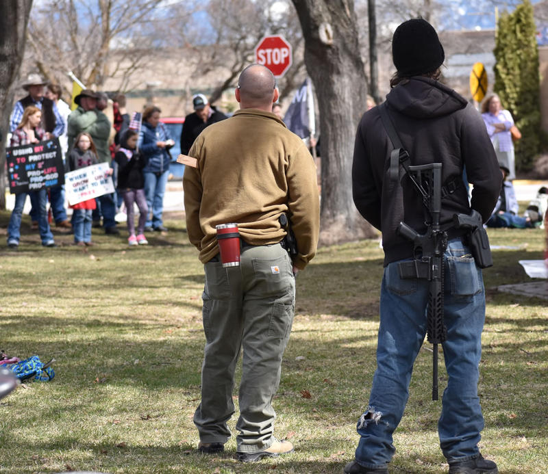 Armed Second Amendment supporters at the locally-organized gun rally in Kalispell's Depot Park on April 14, 2018.
