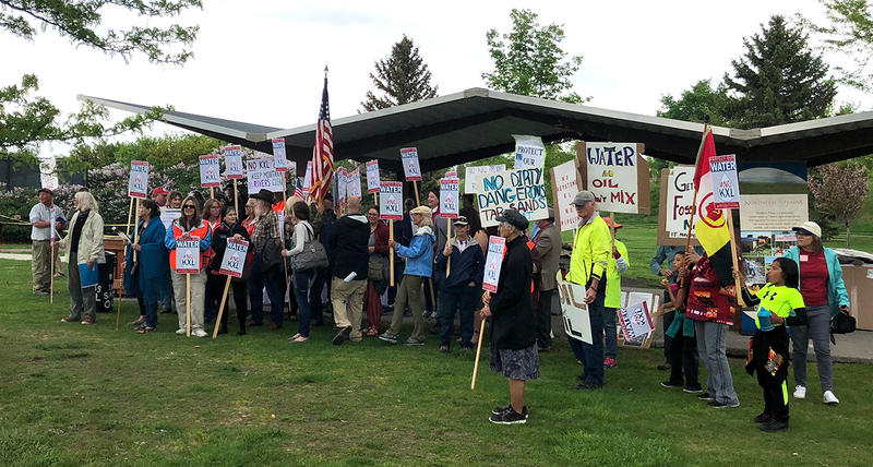 Protesters in Great Falls, Montana rally in opposition to the proposed Keyston XL pipeline, May 23, 2018.