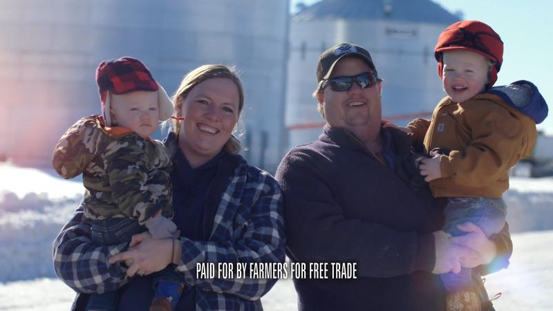 Fourth-generation Montana farmer Michelle Erickson-Jones stands with her family in a video on Farmers for Free Trade's website.