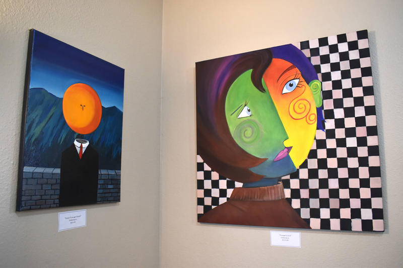 Paintings on display at the 'Stomp The Stigma' art show at the Western Montana Mental Health Center.