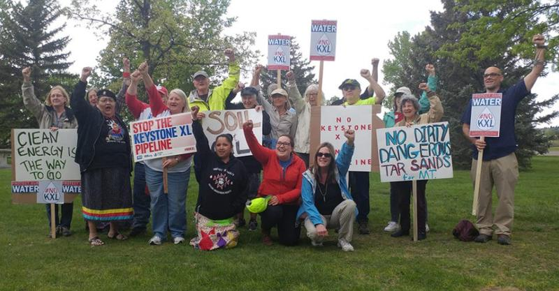 Keystone XL opponents gather in Great Falls, MT, Wednesday, May 23, 2018.