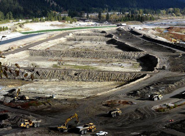 Remediation work at the Milltown Reservoir Superfund Site in 2008, Bonner Montana.