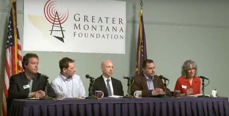 From left to right, Democratic Candidates John Heenan, John Meyer, Jared Pettinato, Grant Kier, Kathleen Williams