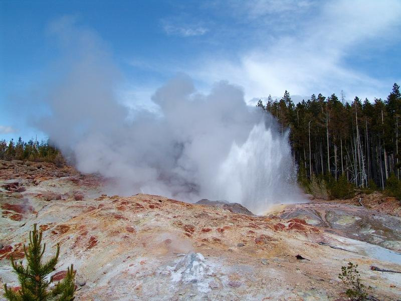 Yellowstone Park's Steamboat Geyser during a 2004 eruption.
