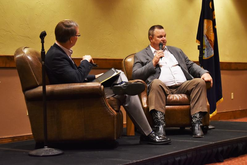 Moderator Ron Davis poses questions to Senator Jon Tester at a forum hosted by the Montana Broadcasters Association in Whitefish June 17.
