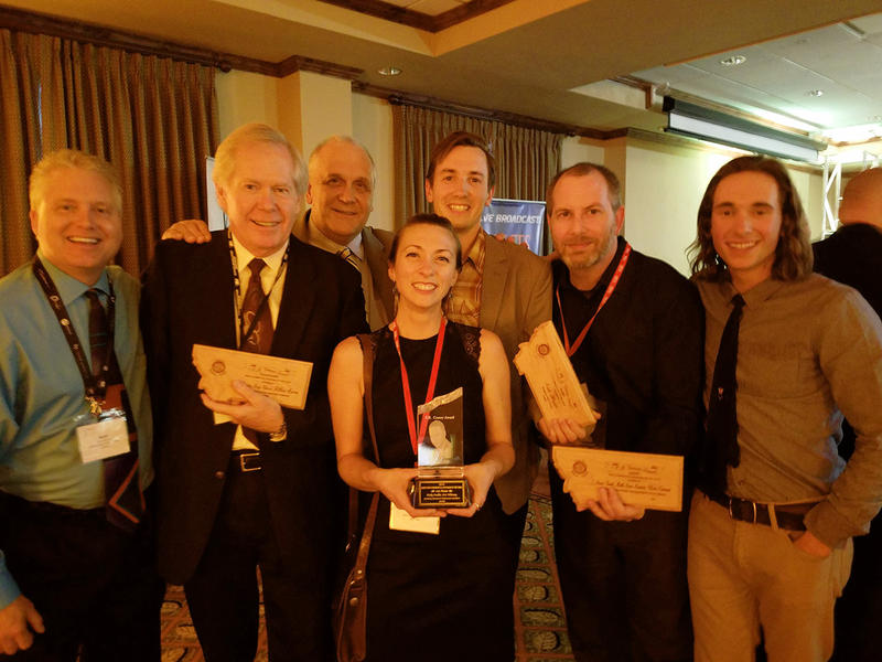 Public Media at the MT Broadcasters Awards. L to R YPR General Manager Kurt Wilson; William Marcus of MontanaPBS and MTPR; Ray Ekness, MTPR director; Nicky Ouellet MTPR reporter; Nate Hegyi, YPR reporter; Josh Burnham, MTPR web editor; Peter Breigenzer.