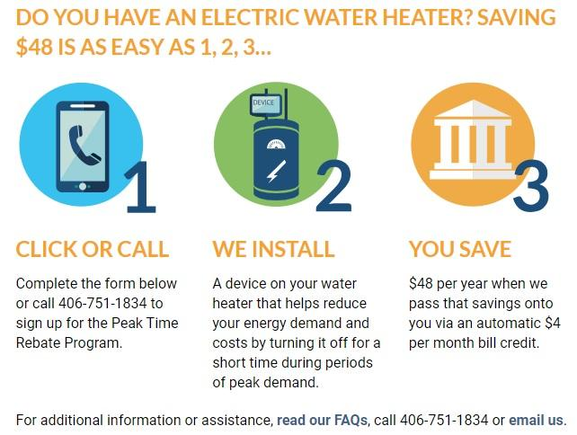 An infographic from Flathead Electric's website shows how members can sign up for the Peak Time Rebate.