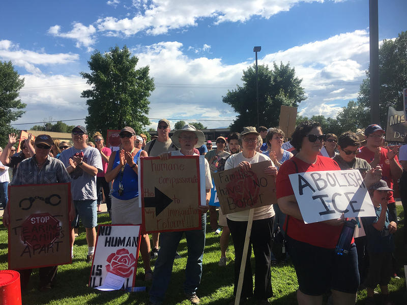 People gather in Missoula to protest the Trump administration's policy of separating families attempting to enter the country illegally at the southern border, June 20, 2018.
