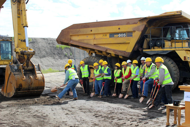 Governor Bullock shovels the first dirt at the groundbreaking ceremony for the Parrot tailing removal project in Butte, June 2018.