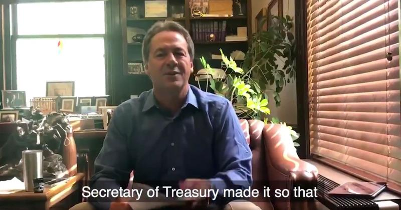 Governor Bullock announces his lawsuit against the IRS, filed in federal court in Great Falls, in a video on Twitter, July 24, 2018.