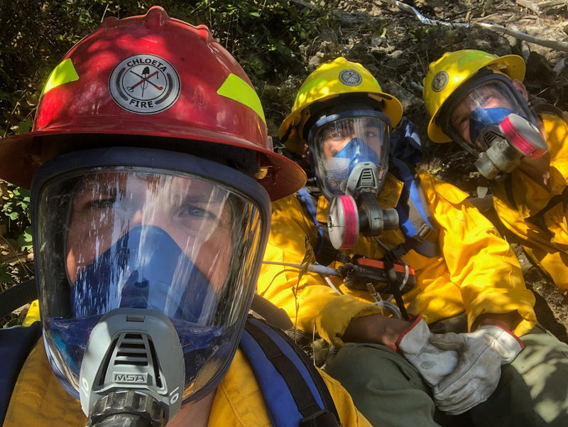 Members Of The Chloeta crew, Nolan Buckingham, Jaime Garcia and Aaron Turner at the Highway 37 fire near Libby, MT.