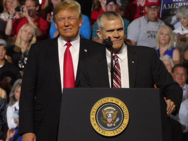 President Donald Trump and Montana Republican Senate candidate Matt Rosendale at a July 5 campaign rally in Great Falls, MT.