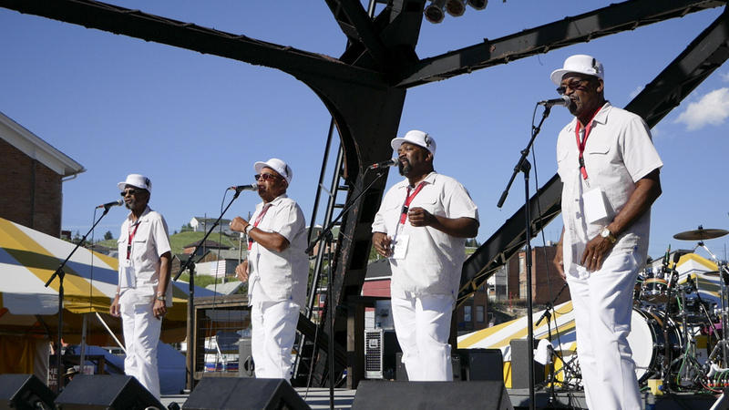 The Fairfield Four sing a capella gospel music at the Montana Folk Festival in Butte, July 13, 2018.