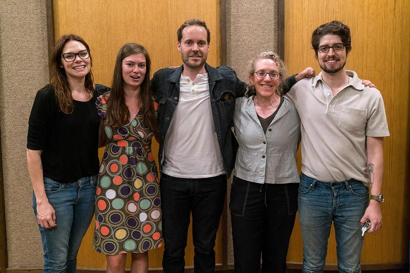 Honey Honey's Suzanne Santo, MTPR's Clare Menahan, drummer Conor Meehan, MTPR engineer Beth Anne Austein, guitarist Ben Jaffe at MTPR studios, July 17, 2018.