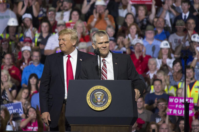 President Donald Trump and Republican Senate candidate Matt Rosendale on stage during a July 5, 2018 rally in Great Falls, MT.