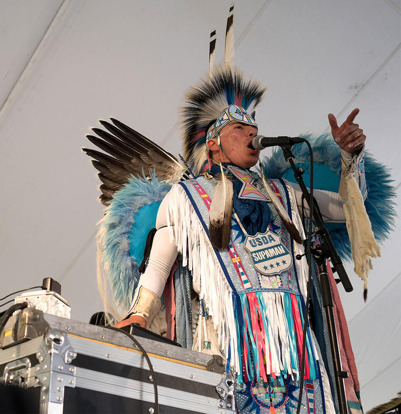 Supaman performs Native American hip-hop at the Montana Folk Festival in Butte, July 14, 2018.