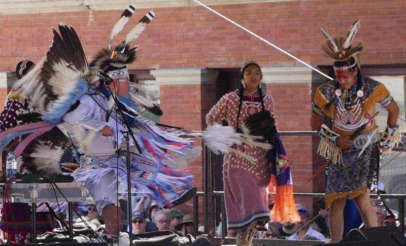 Supaman and family perform Native American hip-hop at the Montana Folk Festival in Butte, July 14, 2018.