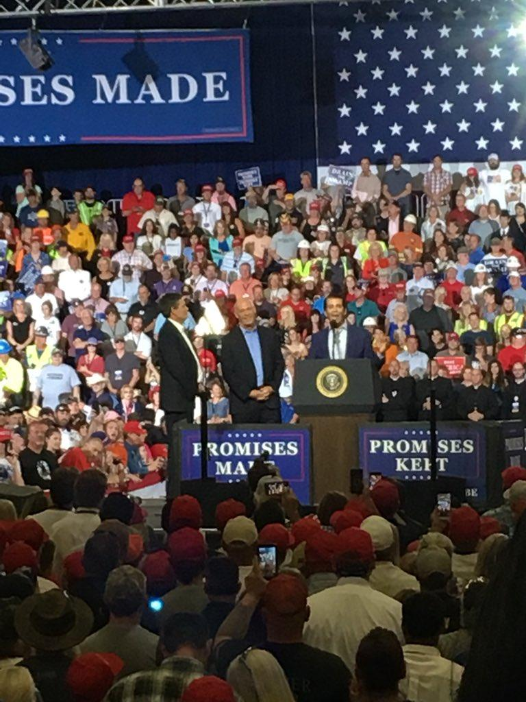 Montana Senator Steve Daines, Rep. Greg Gianforte and Donald Trump Jr. introduce the president at a campaign rally in Great Falls July 5, 2018.