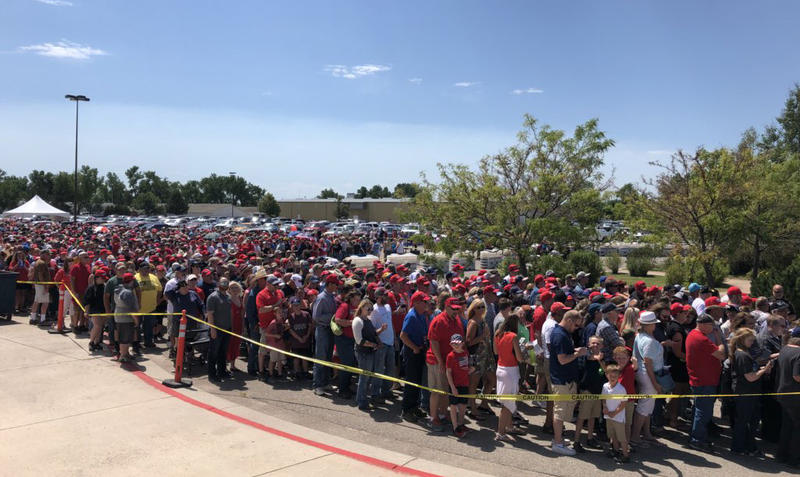 A crowd gathers in Great Falls, MT ahead of President Trump's campaign rally, July 5, 2018.