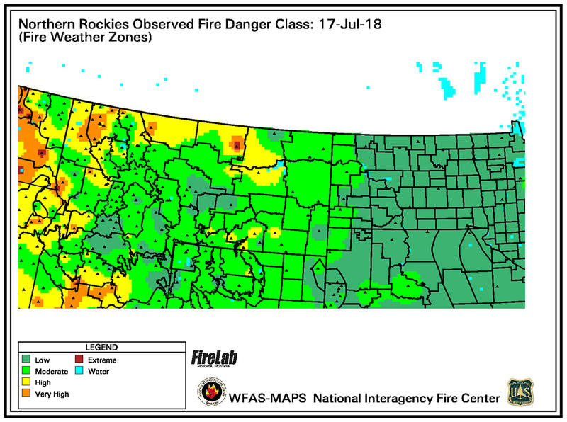 Northern Rockies Observed Fire Danger Class: July 17 2018