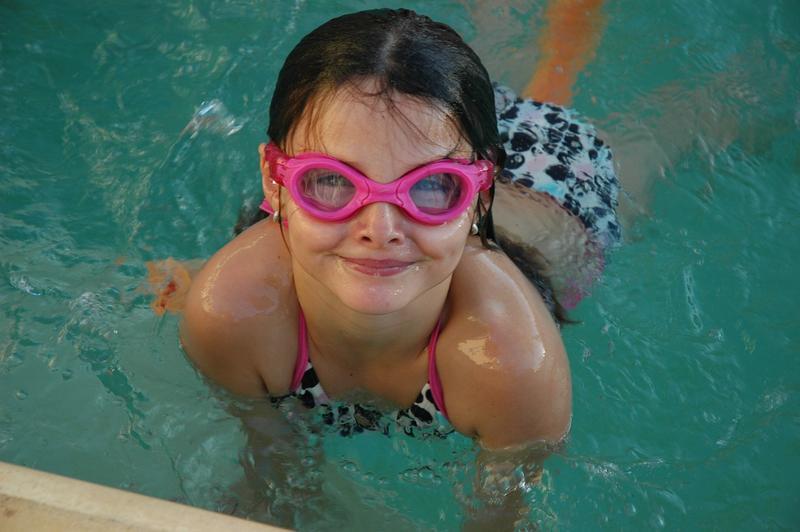 Girl in a swimming pool.