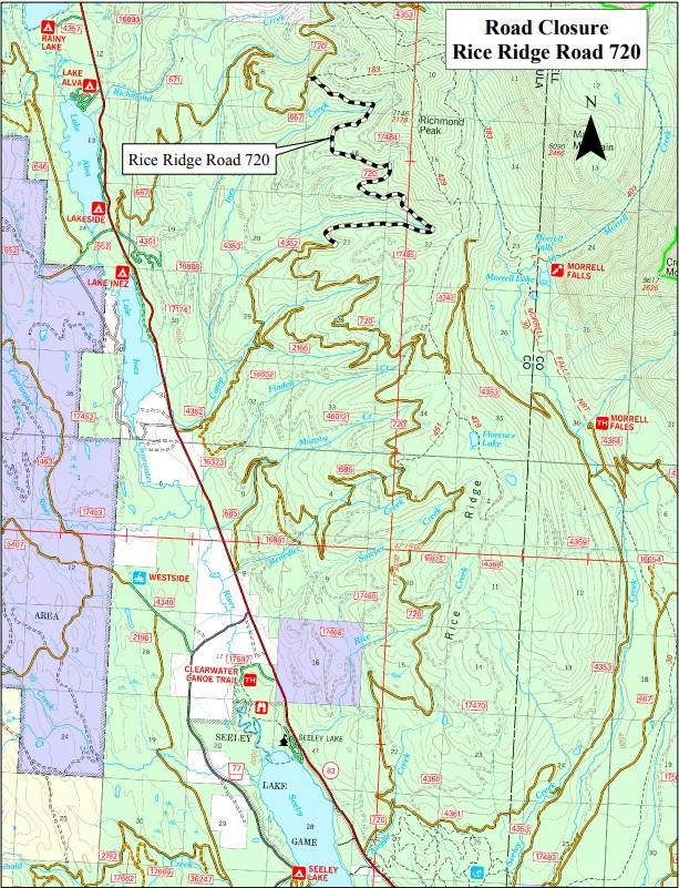 A Forest Service map shows just one of the road closures in the Seeley Lake Ranger District. Rice Ridge Road #720 is closed between Camp Creek Road #685 and Richmond Ridge Road #667.