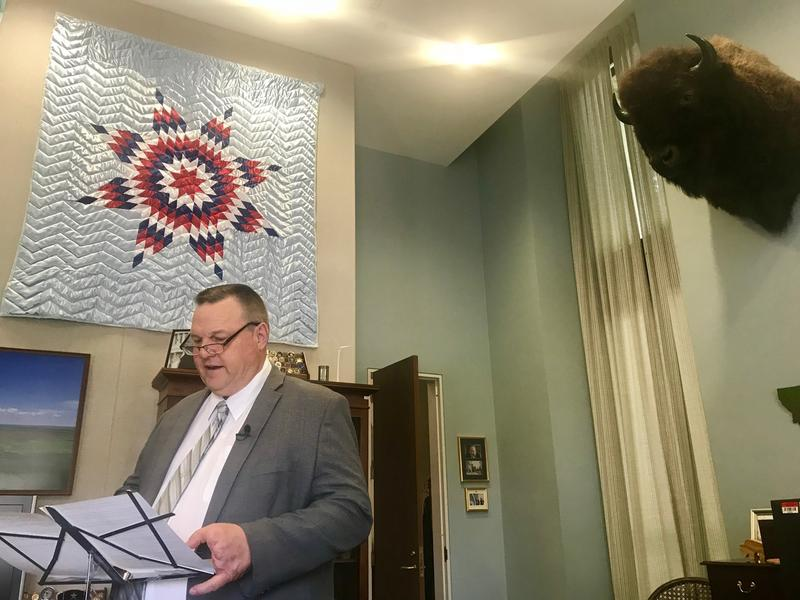 Senator Jon Tester recording a video message in his Washington, DC office in May
