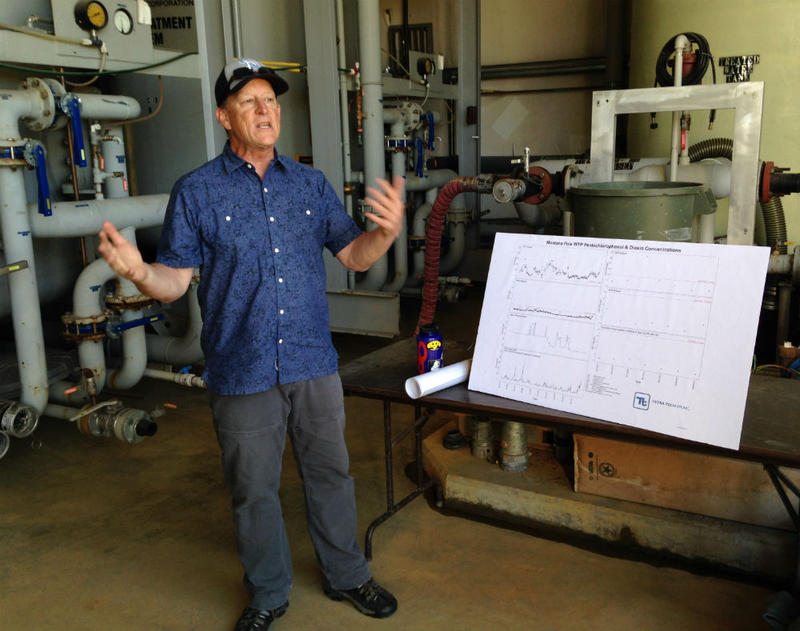 DEQ project manager Dave Bowers discusses the water treatment facility at the Montana Pole and Treating Plant Superfund site in Butte. July 20, 2018.