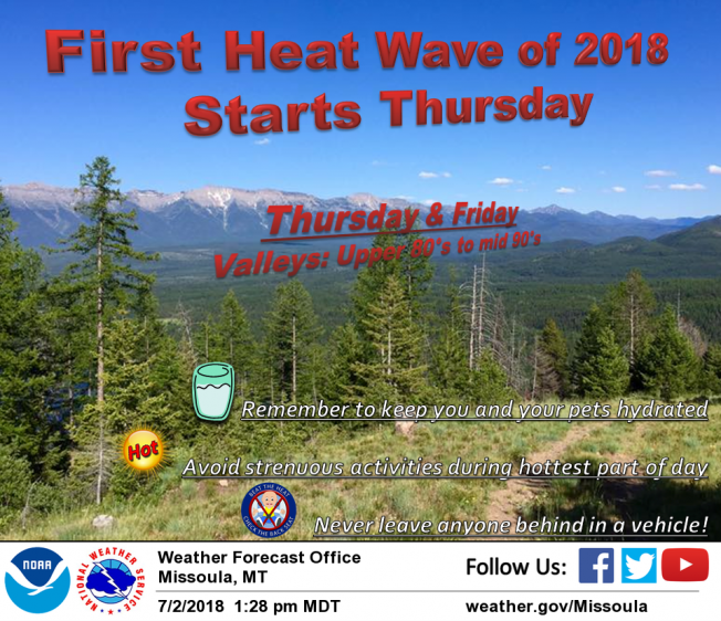 Western Montana's first heat wave of 2018 begins later this week as temperatures are expected to rise into the upper-80s mid-90s in some places by Thursday and Friday. Temperatures are expected to return to normal by the weekend.